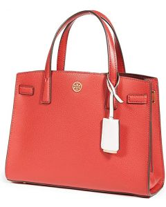 TORY BURCH- WALKER SMALL SATCHEL- BRIGHT CARNELIAN
