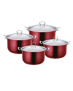 SQ professional Gems Metallic Stock Pot Sets Ruby
