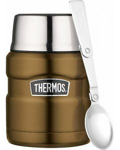 THERMOS STAINLESS KING FOOD FLASK WITH STAINLESS STEEL SPOON 470ML BRASS