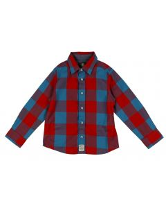 TIMBERLAND BOY'S TURQUOISE SHIRT WITH RED CHECK PRINT