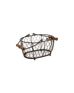 T&G PROVENCE SMALL OVAL BASKET BROWN WIRE 204*145*105MM 23005