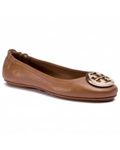 TORY BURCH- MINNIE TRAVEL BALLET WITH METAL- ROYAL TAN/GOLD