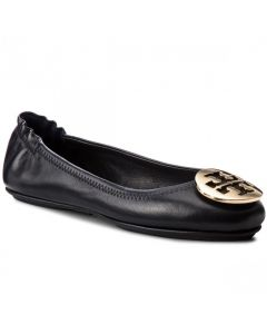 TORY BURCH- MINNIE TRAVEL BALLET WITH METAL- PERFECT BLACK/ GOLD