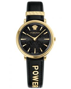 VERSACE V-Circle Gold Black Leather Strap WATCH