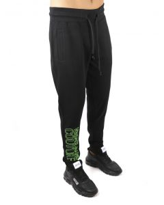 VERSACE- BLACK COTTON TROUSER WITH LOGO