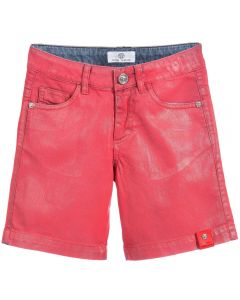 VERSACE BOYS GLOSSY RED DENIM BERMUDA SHORTS