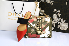 high-heeled shoe next to a handbag